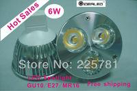 Free shipping 6W LED Dimmable MR16 GU10 E27 GU5.3 spotlight  lamp 10pcs/lot  LED bulbs la lampara del proyector
