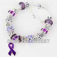 "Wholesale - DIY 8.3"" Purple Breast Cancer Awareness Ribbon Dangle Murano Crystal Bead Charm Bracelet Finding"