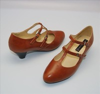 Vintage T cowhide thick heel shoes sweet all-match high-heeled shoes