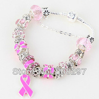 "Wholesale - DIY 8.3"" Pink Breast Cancer Awareness Ribbon Dangle Murano Crystal Bead Charm Bracelet Finding"