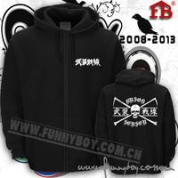 Hot-selling thickening zipper sweatshirt hoodie tfoa flock printing outerwear 2