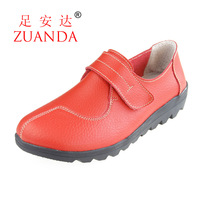 2013 genuine leather single shoes women's shoes casual shoes mother shoes wedges flat rubber sole 977