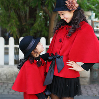 2013 family fashion autumn and winter female child cloak overcoat children's clothing woolen outerwear short design clothes for