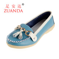 2013 genuine leather single shoes women's shoes casual shoes mother shoes wedges flat cow muscle 1209 outsole