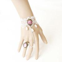 Vintage white lace slave bracelet pink handflower statement charm bride bracelet   WS-116