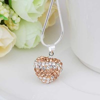 New Arrival!!Wholesale 925 Silver Necklace,Disco Ball Bead,Fashion Crystal Jewelry Shamballa Necklace Heart Pendant SBN111