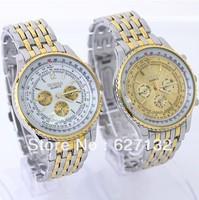 2pc Free Shipping  Golden White Gold Dial Man Steel Case Wrist Watch