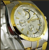 New Fashion Design Men Business Gold Steel Analog Quartz Wrist Watch