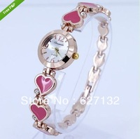 Free Shipping Pink Heart Woman Bracelet Alloy Band Crystal Wrist Watch