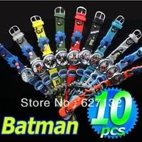 Wholesale 10pcs 3D Cartoon Batman Children Kids Girls Boys Students Quartz Wrist Watches