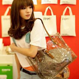 New Summer Women Transparent Leopard Clear Shoulder Bag Tote Beach Style Handbag