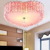 Modern eco-friendly pvc heart ceiling light romantic powder red crystal lamp lighting lamps