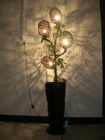New arrival straw braid floor lamp handmade knitted rattan lamp creative floor lamp living room floor lamp