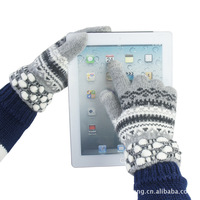 wholesale Free shipping 2013 fashion Winter warm pineapple mouth touch gloves capacitive screen conductive Wool gloves T001