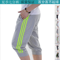 Male summer thin beach sports knee length trousers seven casual capris 100% cotton sports shorts 1