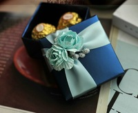 Free shipping Wedding supplies, BLUE candy box, wedding decoration, gift boxes, Christmas gift boxes  ,box+silk+flower