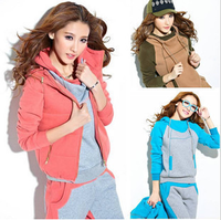 2013 autumn and winter new fashion thickening fleece sports three piece set vest sweatshirt casual wear female trousers set