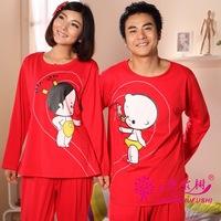 Free Shipping Autumn marry lovers 100% cotton long-sleeve sleepwear sleep set lounge