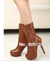 Free shipping 2013 women motorcycle boots all-match stiletto tie side zipper winter boots genuine leather shoes