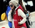 Trend Knitting  2013 Winter New fashion women's warm Coat Cotton zipper With hood Slim  thicken Vest jacket M,L,XL
