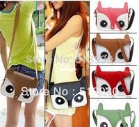 2013 New Women Ladies Retro Shoulder Bag Fashion Messenger Bags Cute School Tote Owl Fox PU Handbags Free Shipping