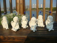 Household adornment furnishing articles,6 types white resin handicrafts boy angel 6pcs/lot,resin plant modeling arts and crafts
