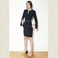 2014 New Brand ZA Women Sexy Slim Slit On Sleeve High Elastic Dress Three Quarter Sleeve Casual Solid Pocket Black Vestidos q114