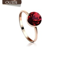 Trendy 18k gold plated ring made with Swarovski Elements  color dark red 40056 free shipping