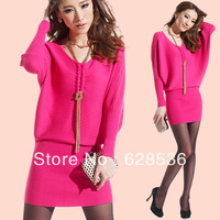 Red sweater dress autumn one-piece dress 2013 fashion long-sleeve knitted one-piece dress