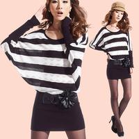 2013 women's batwing sleeve sweater knit dress cutout loose stripe long-sleeve dress