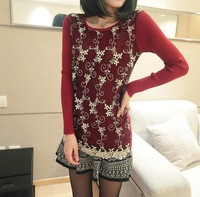 45 spring sweet slim rhinestones lace long-sleeve basic sweater