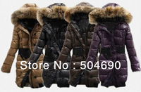 Geninue Brand long women's winter coats and jackets,Brand down parkas,outerwears with fur hoody,free shipping