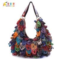 Girls 2013 1948 sheepskin patchwork genuine leather bag spilliness tassel messenger bag