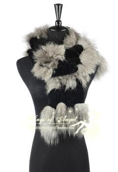 free shipping  real rubbit fur scarf  Stylish fur neck warmer scarf muffler headband wrap cape shawl scarves with fox