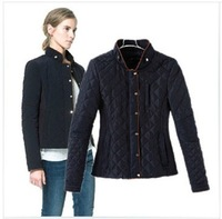 2014 Newest slim down&parkas,fashionable stand collar winter outerwear,dark blue coat,S-L free shipping