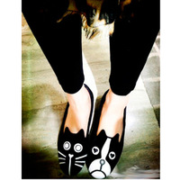 2013 summer vintage mj personality the cat dog shoes velvet flats shoes
