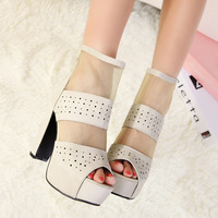 Free Shipping cool boots fashion open toe platform high thick heel sandals boots reticularis cutout women's shoes