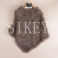 Knitted rabbit fur shawl poncho stole cape scrap wrap wemen's garment 8 colors