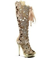 gold flower hollow summer sandal boots