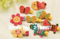 Free Shipping 2013 Wholesale 30pcs/lot Crochet Cartoon Fish/Flower Hair Clips Children Girls Hairclips