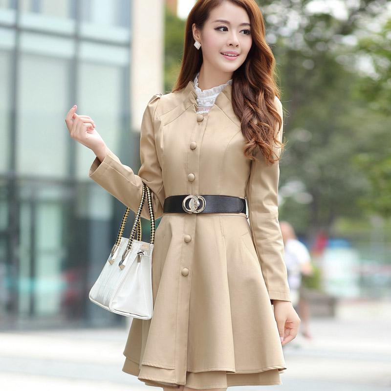 2013 autumn sweet single breasted trench skirt women's outerwear slim waist elegant plus size clothing(China (Mainland))