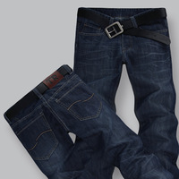 free shipping Plus size available male jeans mid waist straight jeans male fashion all-match denim trousers male