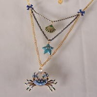 Over 15 $ Free shipping Fashion bj crab multi-layer necklace 130630  Wholesale gift for Christmas