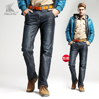 free shipping Autumn and winter trousers men's thickening straight slim jeans men's clothing business casual male 678 denim