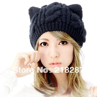Free Shipping!2013 New Wholesale 5colors Cartoon Cat Ear Beanie Hats For Womens Fashion Braided Crochet Woman Caps
