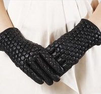 Free shopping Sheepskin leather winter thermal fleece lined small suede gloves women's genuine leather
