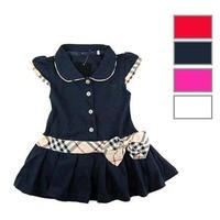 Children Fashion Princess  Dress Plaid Print and Bow Waist Girls Brand Dresses 100%Cotton Kids Girl Tennis One-piece Dress