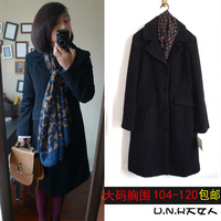 Fashion design black long wool plus size wool coat outerwear ol white collar winter