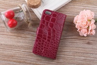 100 PCS/lots  free shipping crocodile lines for apple 5 c cell phone holster  about flip open wallet mobile phone holster