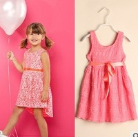 Freeshipping 5pcs/lot white / pink summer girl princess dress lace girl dress children clothing